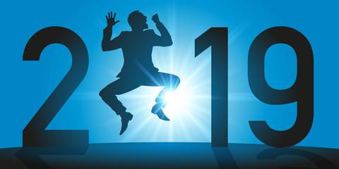 Carte de vœux 2019 avec un homme qui saute de joie pour exprimer sa réussite et celle de son entreprise