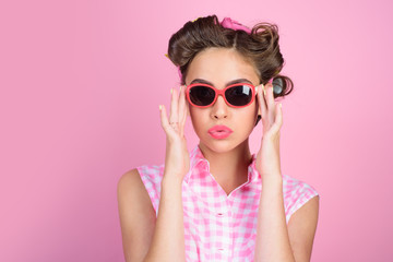 beauty salon and hairdresser. happy girl in summer glasses. Pin up girl. vintage housewife woman make hairstyle. retro woman with fashion makeup. Ambitious and beautiful. Seducing you