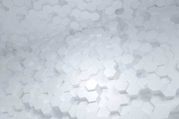 3d rendering, hexagon with white background