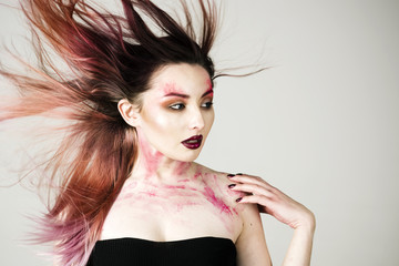 Beauty salon and hairdresser. Makeup cosmetics and skincare. Hair loss and care. Sexy woman with fashion makeup. Sexy girl with fashion makeup. Halloween. Facial care. Following her personal style