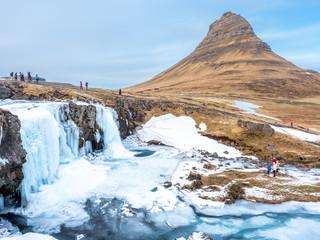 Winter freeze of Kirkjufell mountain, Iceland