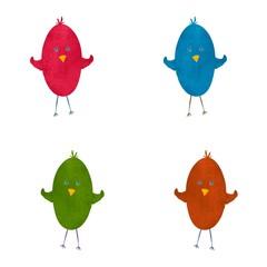 Set of cute multi colored birds