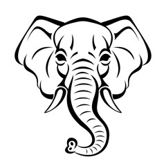 Vector beautiful elephant face tattoo sketch or template for print on t-shirts