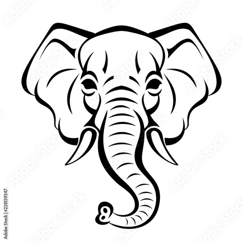 Vector Beautiful Elephant Face Tattoo Sketch Or Template For