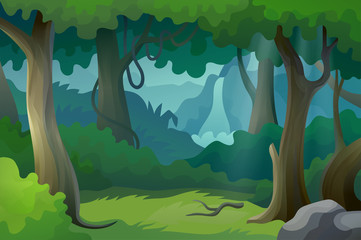 Vector beautiful cartoon forest landscape jungle with waterfall wild nature background