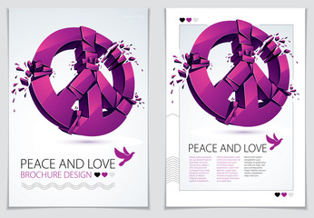 Peace Symbol breaking to pieces vector 3d realistic illustration and flyer, broken peace, antiwar meeting and protest demonstration like hippies and pacifists in 60s, against military conflicts.