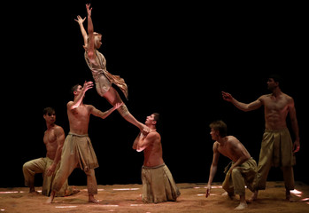 Artists from the dance company Recirquel perform during the dress rehearsal for 'My Land' in Budapest