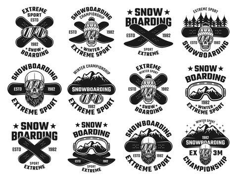 Snowboarding winter extreme sport vector emblems