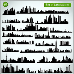 Set of cityscape silhouettes on a light gray background.