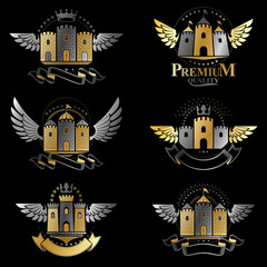Ancient Bastions emblems set. Heraldic vector design elements collection. Retro style label, heraldry logo.