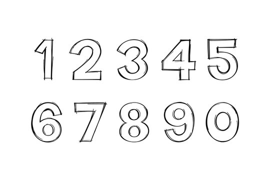 Vector of Digits in Hand drawn doodle style. Doodle numbers.