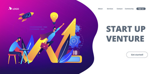 Start up launch concept landing page.