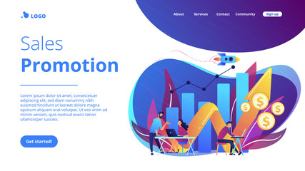 Sales growth concept landing page.