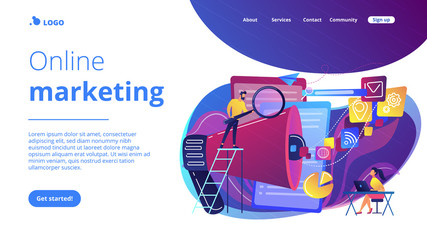 Search engines optimization concept landing page.