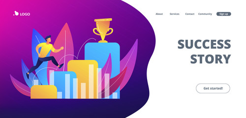 On the way to success concept landing page.