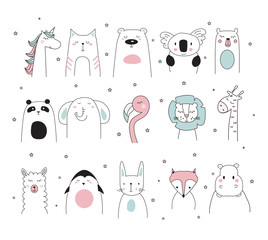 doodle animals set, vector illustration