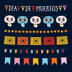 Set of Dia de los Muertos, Mexican Day of the Dead garlands with lights, bunting flags, papel picado and ornamental skulls. Collection of Halloween garden party decorations. Isolated vector objects.