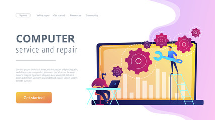 Computer troubleshooting concept landing page.