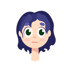 Young girl with big green eyes and purple hair.