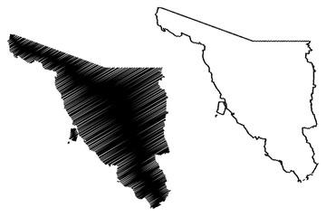 Sonora (United Mexican States, Mexico, federal republic) map vector illustration, scribble sketch Estado Libre y Soberano de Sonora map
