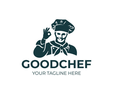 Chef or cook in cap and shows gesture okay, logo design. Kitchen, restaurant, snack bar, gastronomy and cooking food, vector design and illustration