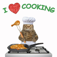 The cat chef is frying a chicken in a square grill pan on a gas stove. I love cooking. White background.