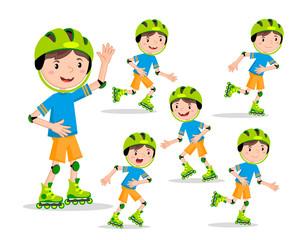 Set the boy on roller skates