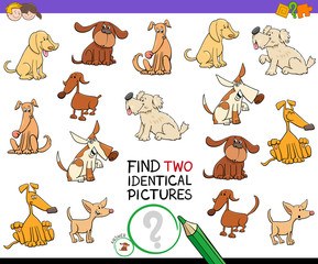 find two identical dog pictures game for kids