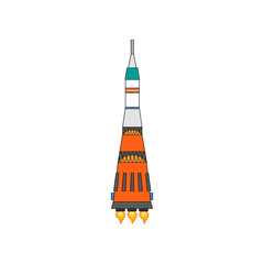 Illustration of a simple spaceship isolated vector illustration.