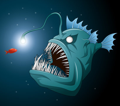 Anglerfish mouth on dark background. Luminous bait and anglerfish teeth. Vector illustration