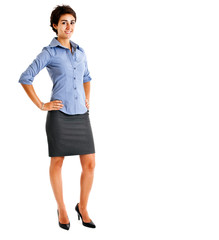Beautiful businesswoman isolated on white full length