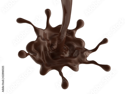 Wall mural coffee or hot dark chocolate dynamic splash isolated on white background, brown liquid