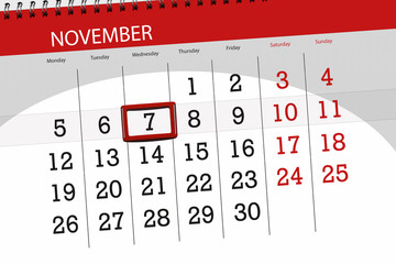 Calendar planner for the month, deadline day of the week 2018 november, 7, Wednesday