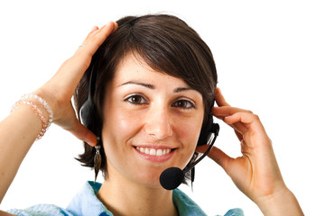 Portrait of a beautiful girl with headset