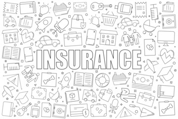 Insurance background from line icon. Linear vector pattern. Vector illustration