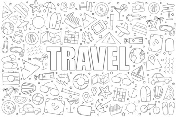 Travel background from line icon. Linear vector pattern. Vector illustration