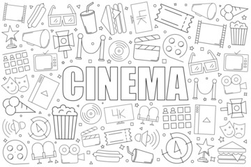 Cinema background from line icon. Linear vector pattern. Vector illustration