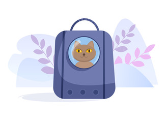 Pet carrier for cat Vector. Cartoon. Isolated art on white background. Flat