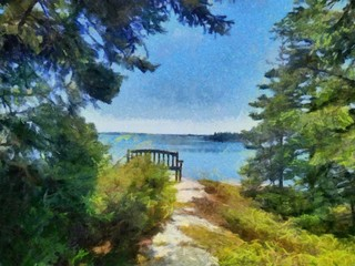Hand drawing watercolor art on canvas. Artistic big print. Original modern painting. Acrylic dry brush background. Beautiful summer landscape. Lake beach. Green spruce forest.