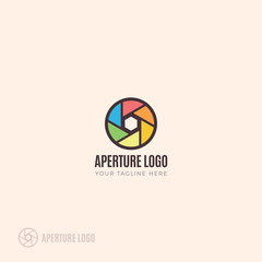 Photography logo branding with colorful camera lens aperture blades vector illustration