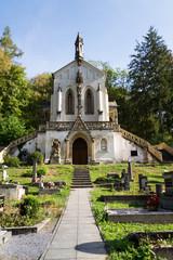 Saint Maximilian Chapel on cemetery in Saint John under the Cliff, Svaty Jan pod Skalou, Czech Republic, sunny summer day