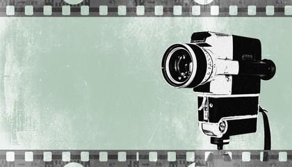 Vintage Kamera auf Stativ, Hintergrund mit Filmstreifen in retro Pastellfarben, grün