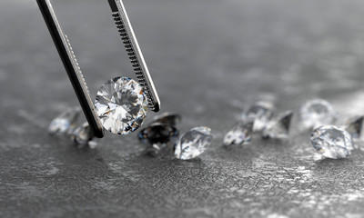 Realistic Diamond in tweezers soft focusing, 3d rendering.