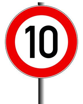 Schild 10 Km/h