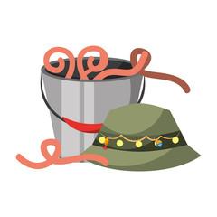 hat fishing bucket worm bait equipment hobby