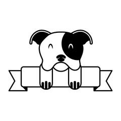 cute mascot dog domestic ribbon
