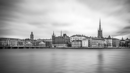Scenic view of the old town with the islands of Gamla Stan and Riddarholmen, Stockholm, Sweden