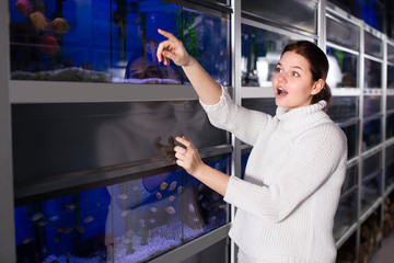 Teenage girl is pointing to interesting breeds of small fishes