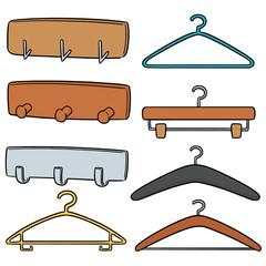 vector set of wall coat rack and hanger
