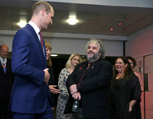 "Britain's Prince William, Duke of Cambridge and New Zealand film maker Peter Jackson attend the world premiere of Peter Jackson's film ""They Shall Not Grow Old"" during the BFI London Film Festival in London"